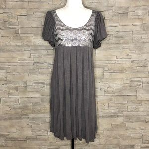 Tea grey boho dress with sequins